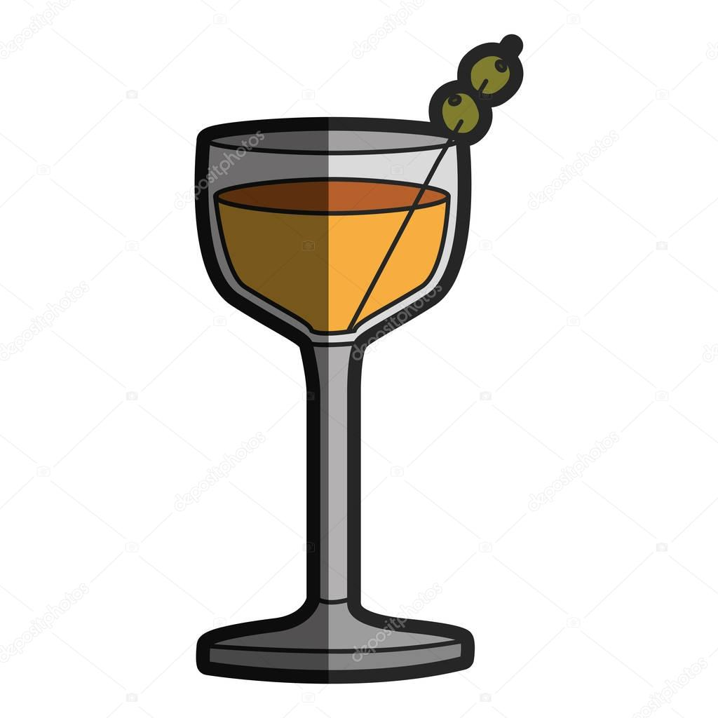 light coloured silhouette of glass cocktail with olive fruit with half shadow