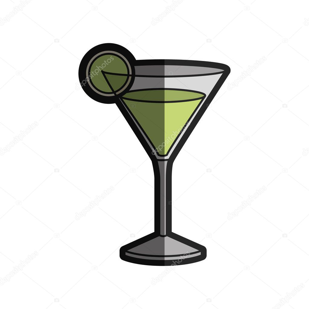 light coloured silhouette of drink cocktail glass vermouth with slice of lemon with half shadow