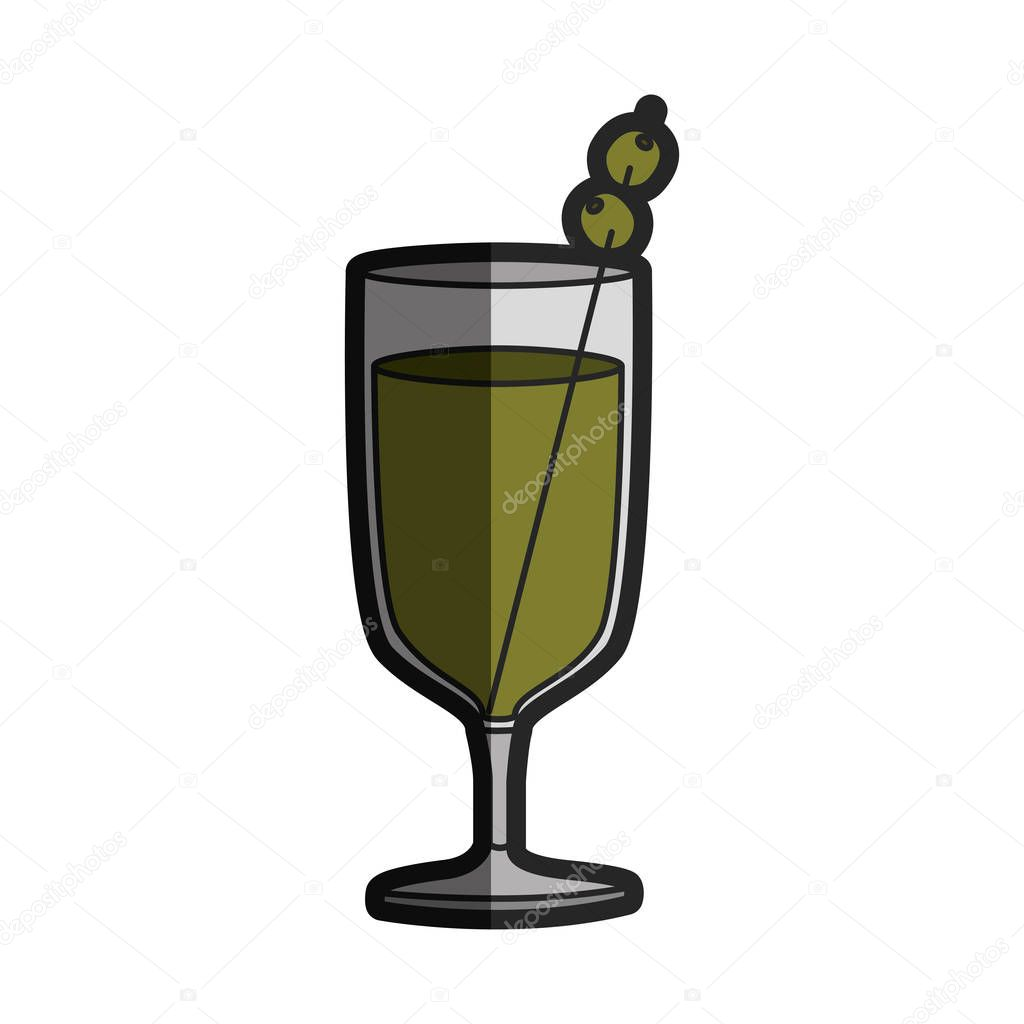 light coloured silhouette of glass cup cocktail with half shadow