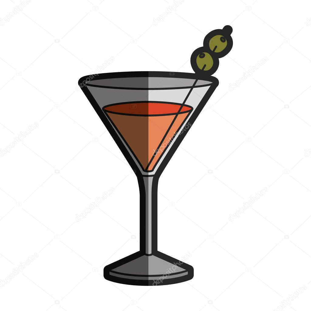 light coloured silhouette of drink cocktail glass vermouth with half shadow
