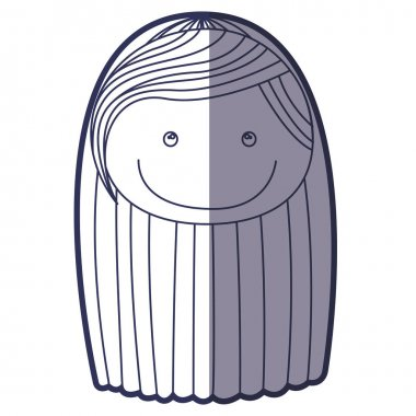 blue color contour caricature front face girl with striped long hair