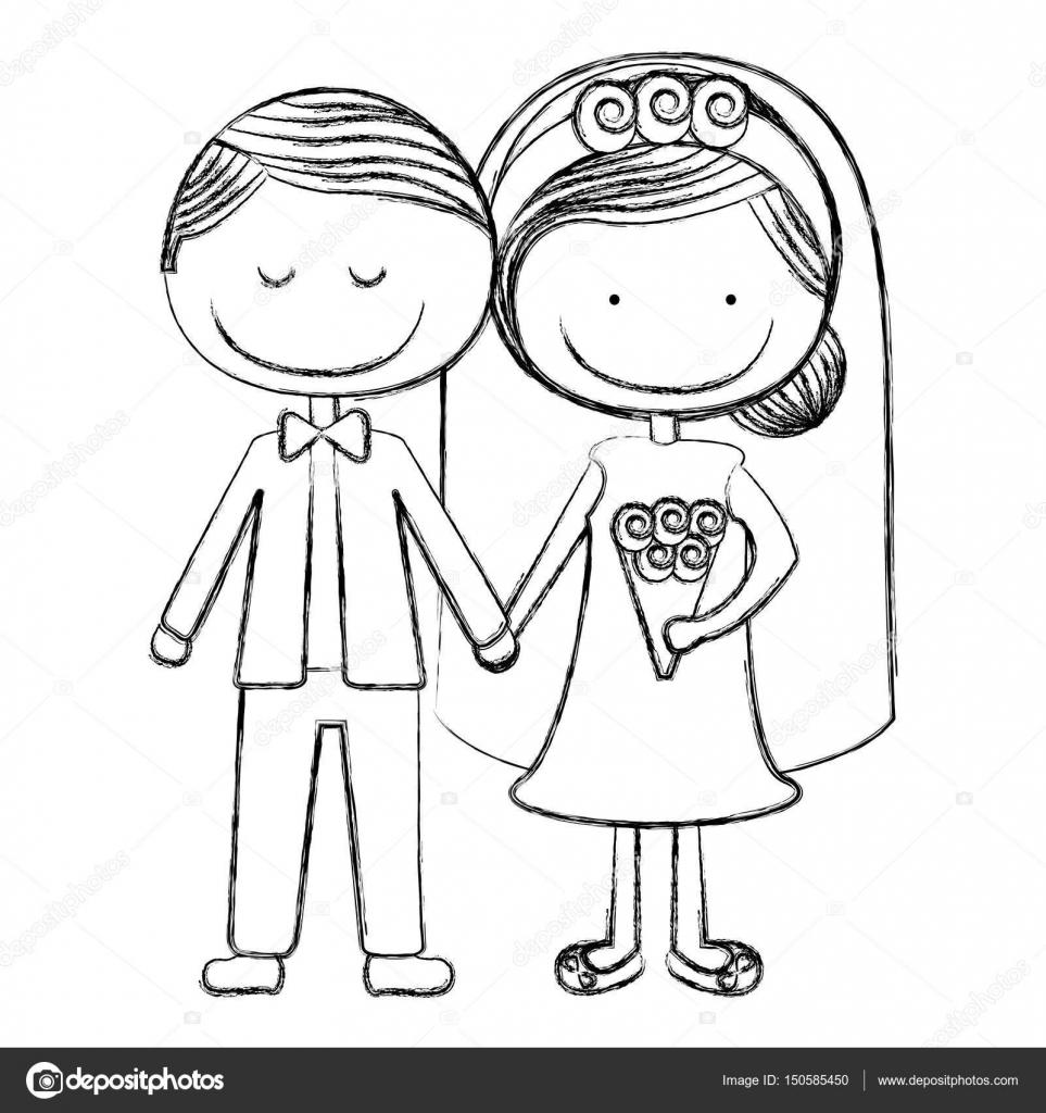 borrosa la silueta caricatura novio con los ojos cerrados y novia ...