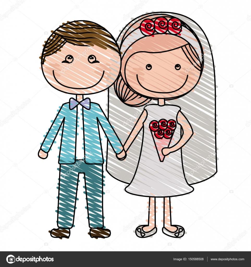 962a75724c Lápiz de color dibujo de novios caricatura con ropa formal y de novia con  peinado recogido
