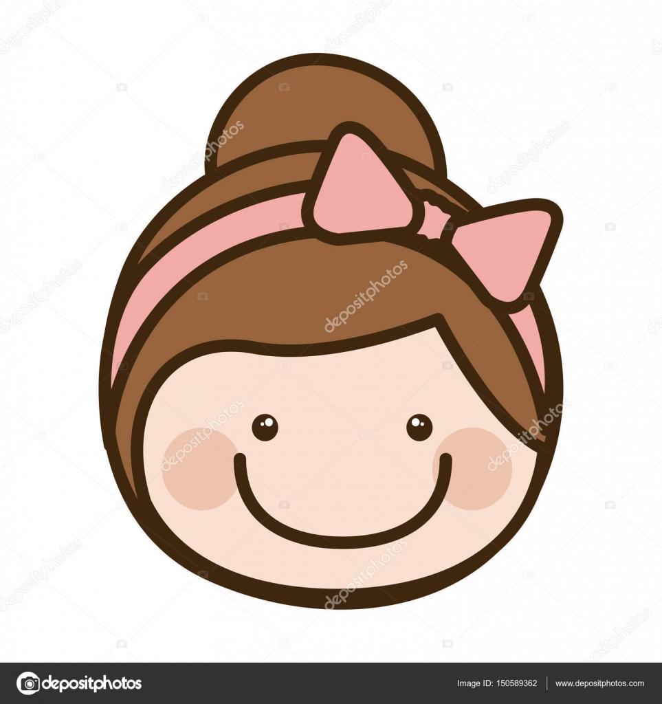 niña de cara frontal color silueta dibujos animados con el pelo ...