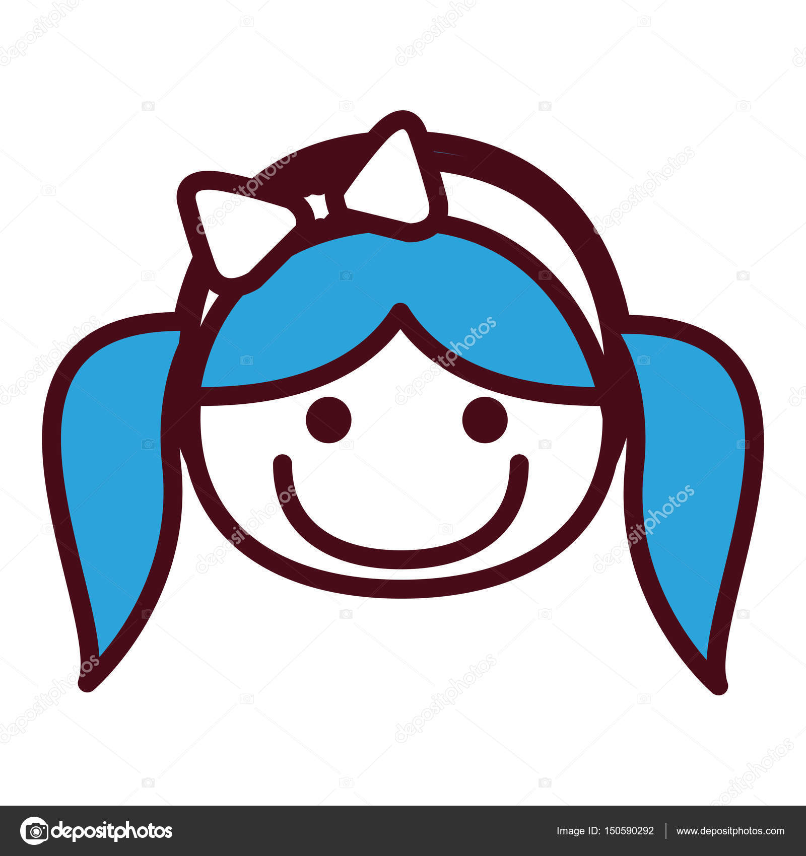 Hand Drawing Silhouette Front Face Girl With Blue Pigtails Hairstyle And Bow Lace Stock Vector
