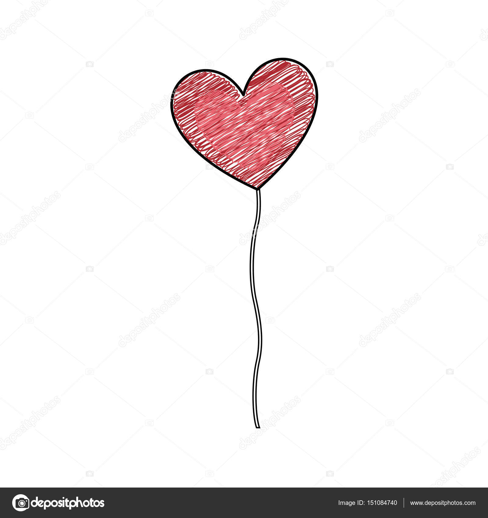 Color Pencil Drawing Of Balloon In Shape Of Heart Stock Vector