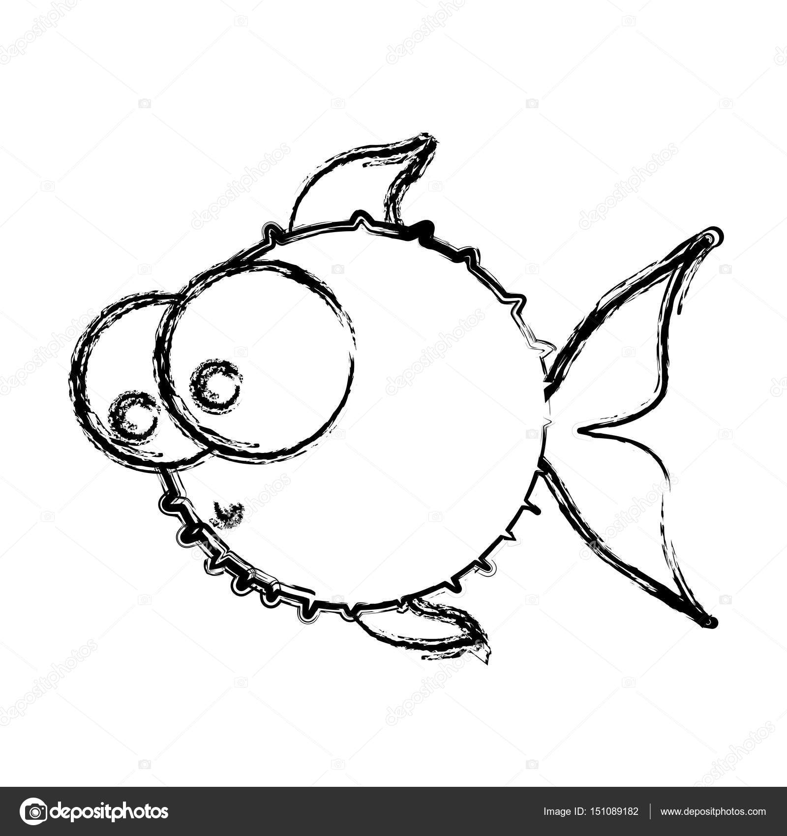 Monochrome Sketch Of Blowfish With Big Eyes Stock Vector