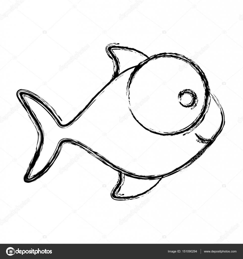 desenho monocromático de peixe com olho grande e pequena pupila