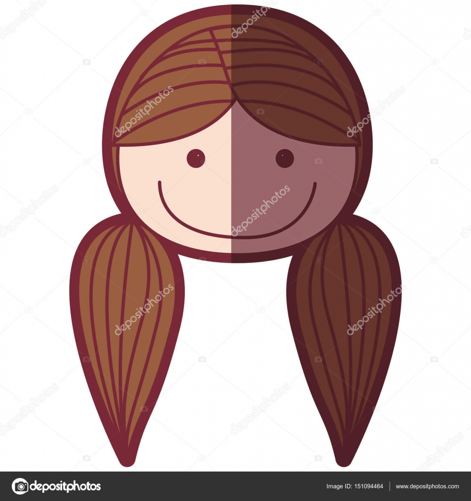Color Silhouette Shading Cartoon Front Face Woman With Pigtails Hair