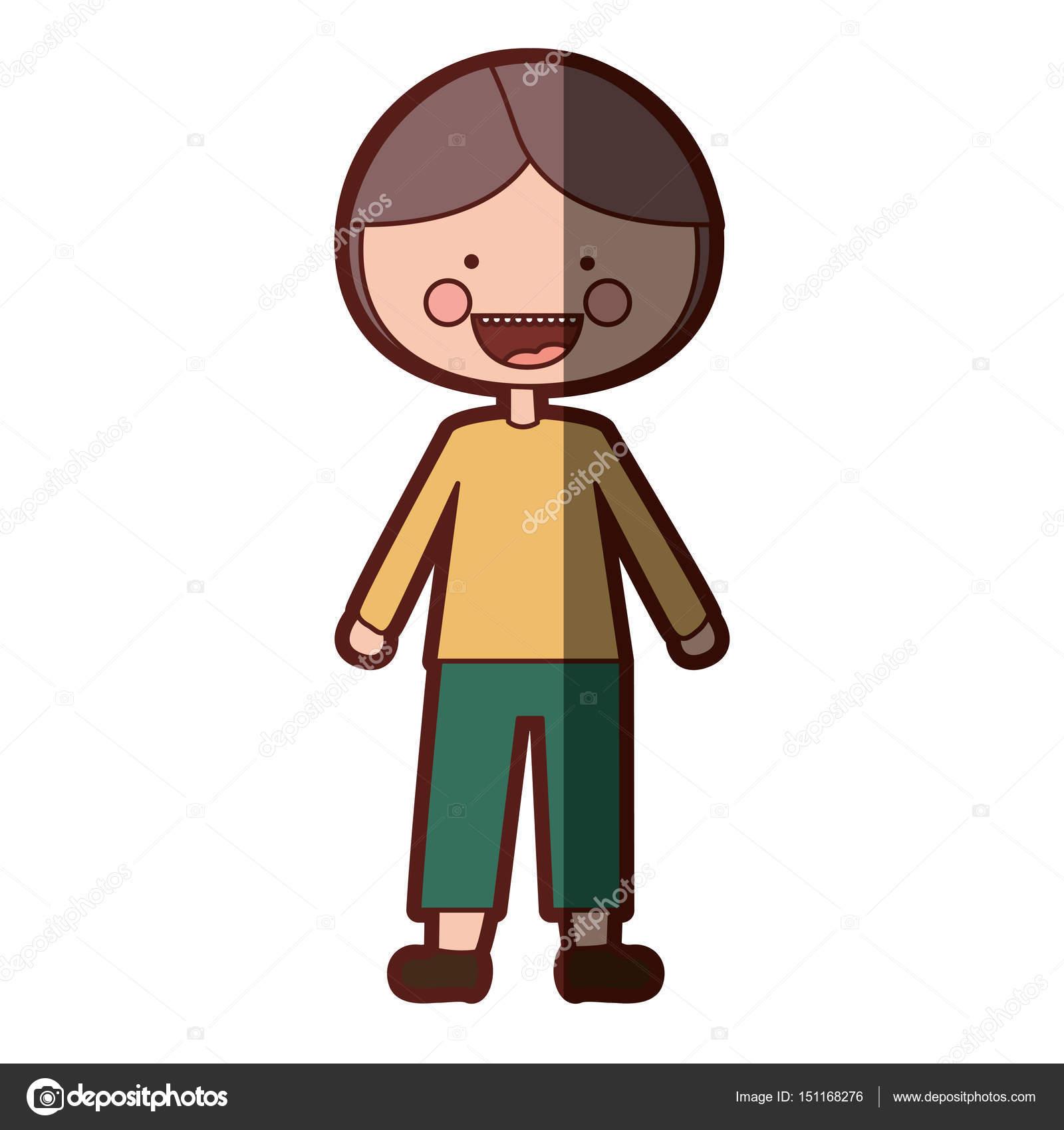 niño de dibujos animados de expresión sonrisa sombra silueta color ...