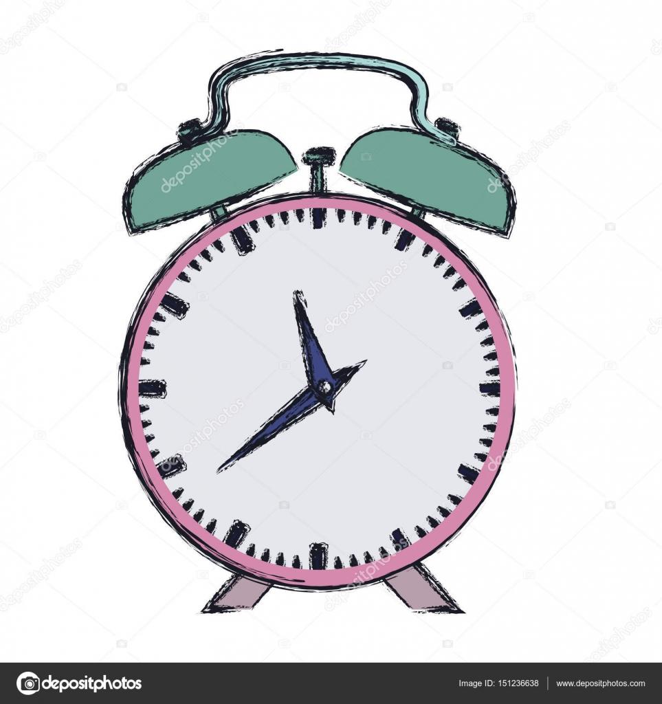 Dibujo reloj de alarma de color rosa de la mano vector for Imagenes de relojes