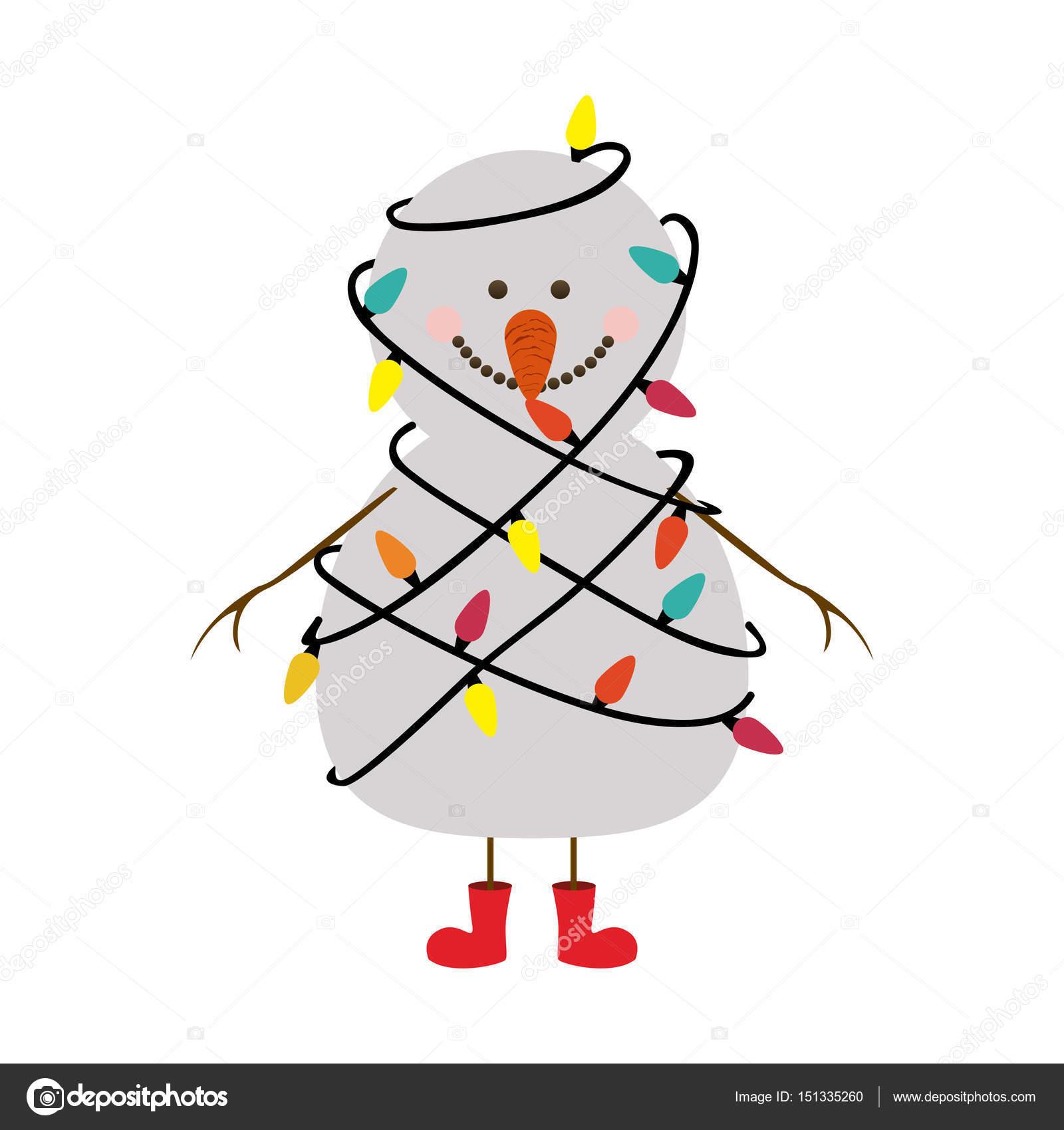 Silhouette der Schneemann mit roten Stiefeln und verworrenen in ...