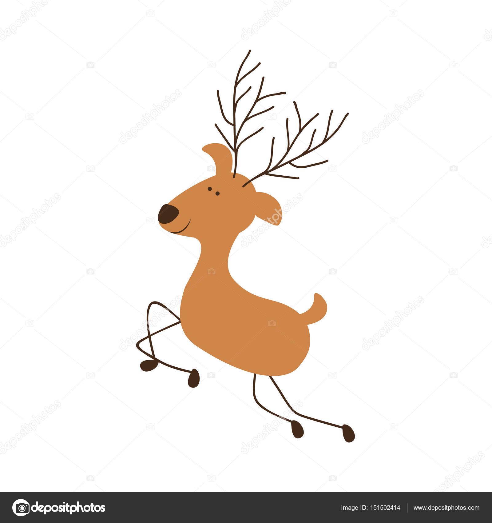 color de caricatura de silueta de salto del reno — Archivo Imágenes ...