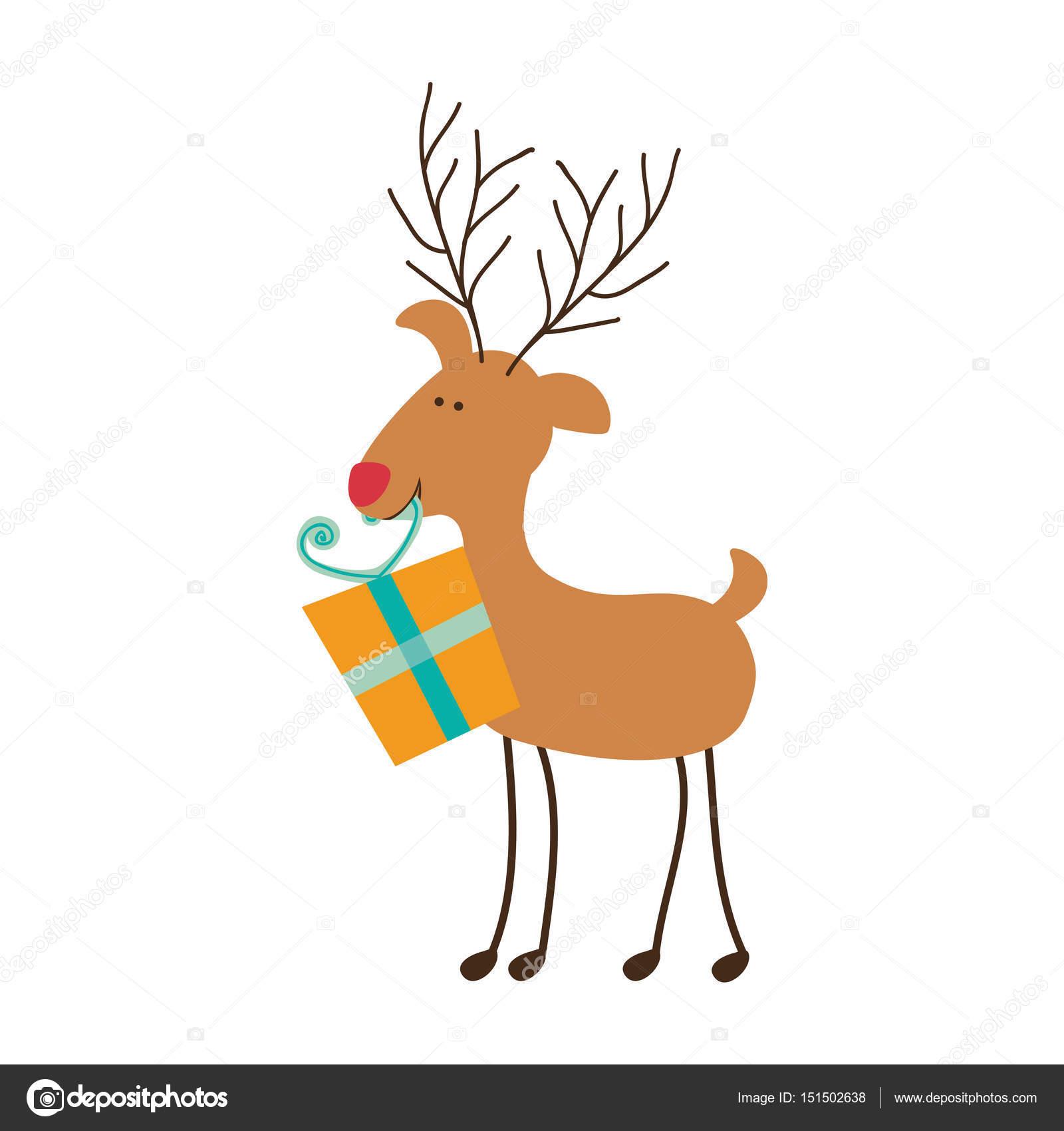 color de caricatura de silueta de Reno con caja de regalo — Archivo ...