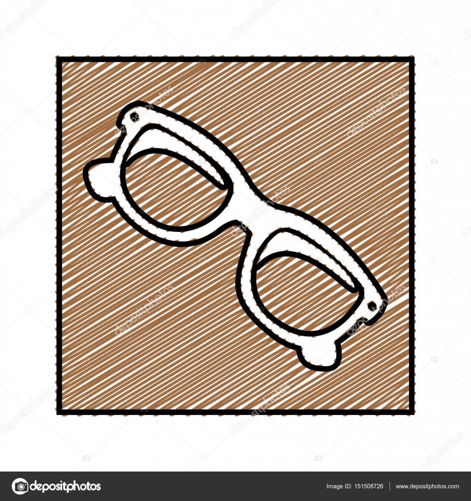 Farbe Bleistiftzeichnung quadratischen Rahmen mit Sonnenbrille ...