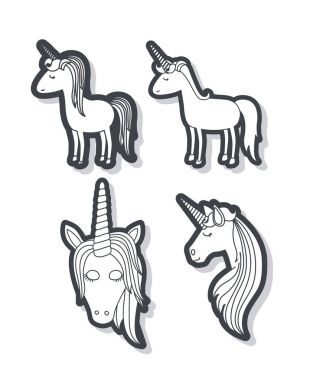 white background with monochrome set of unicorns body and faces