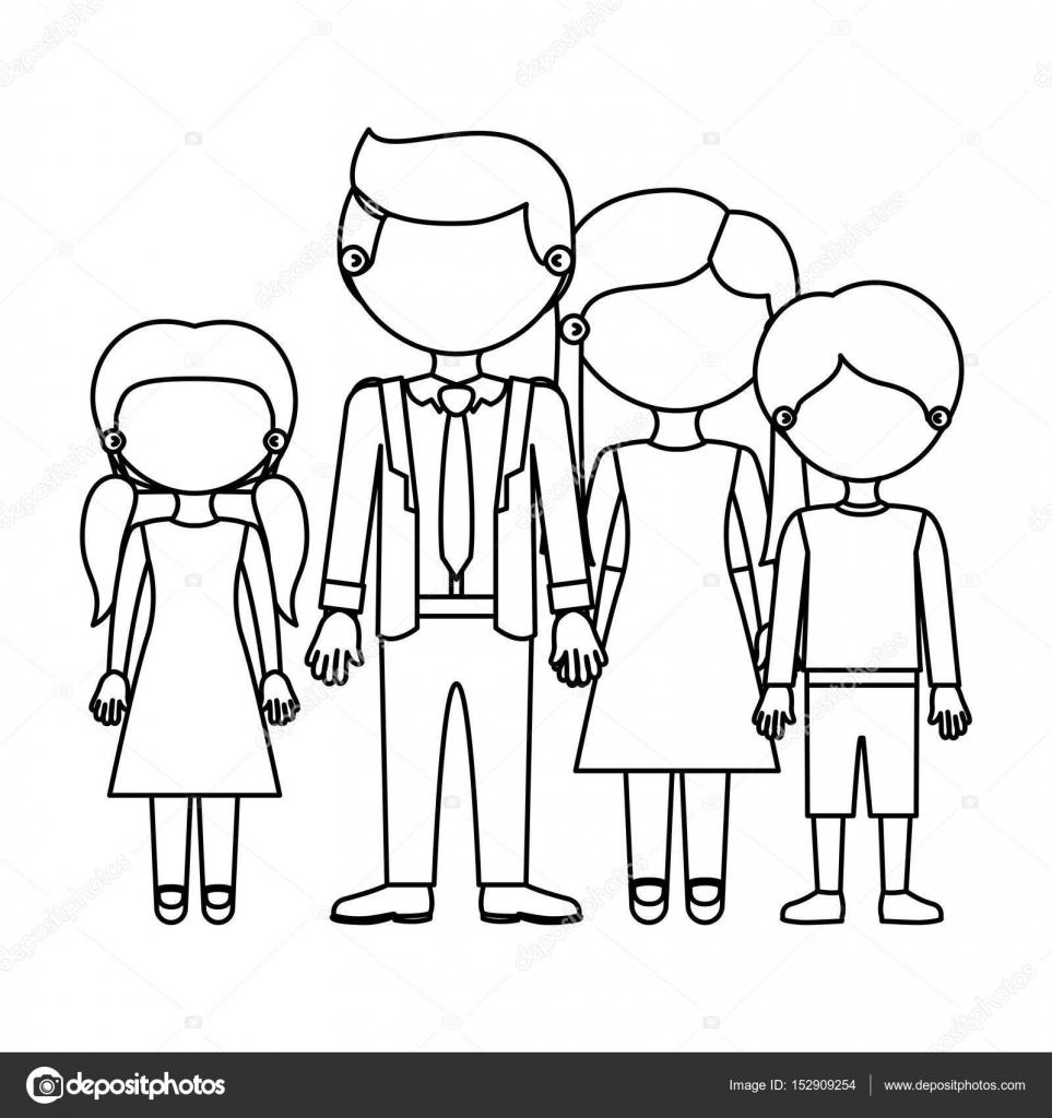 Imágenes Familia Para Dibujar Dibujo Silueta Sin Rostro Grupo