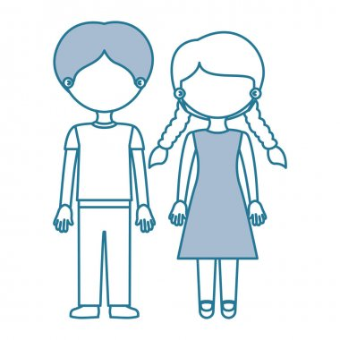 Blue contour with color sections faceless couple boy with pants and girl with braids hairstyle vector illustration clip art vector