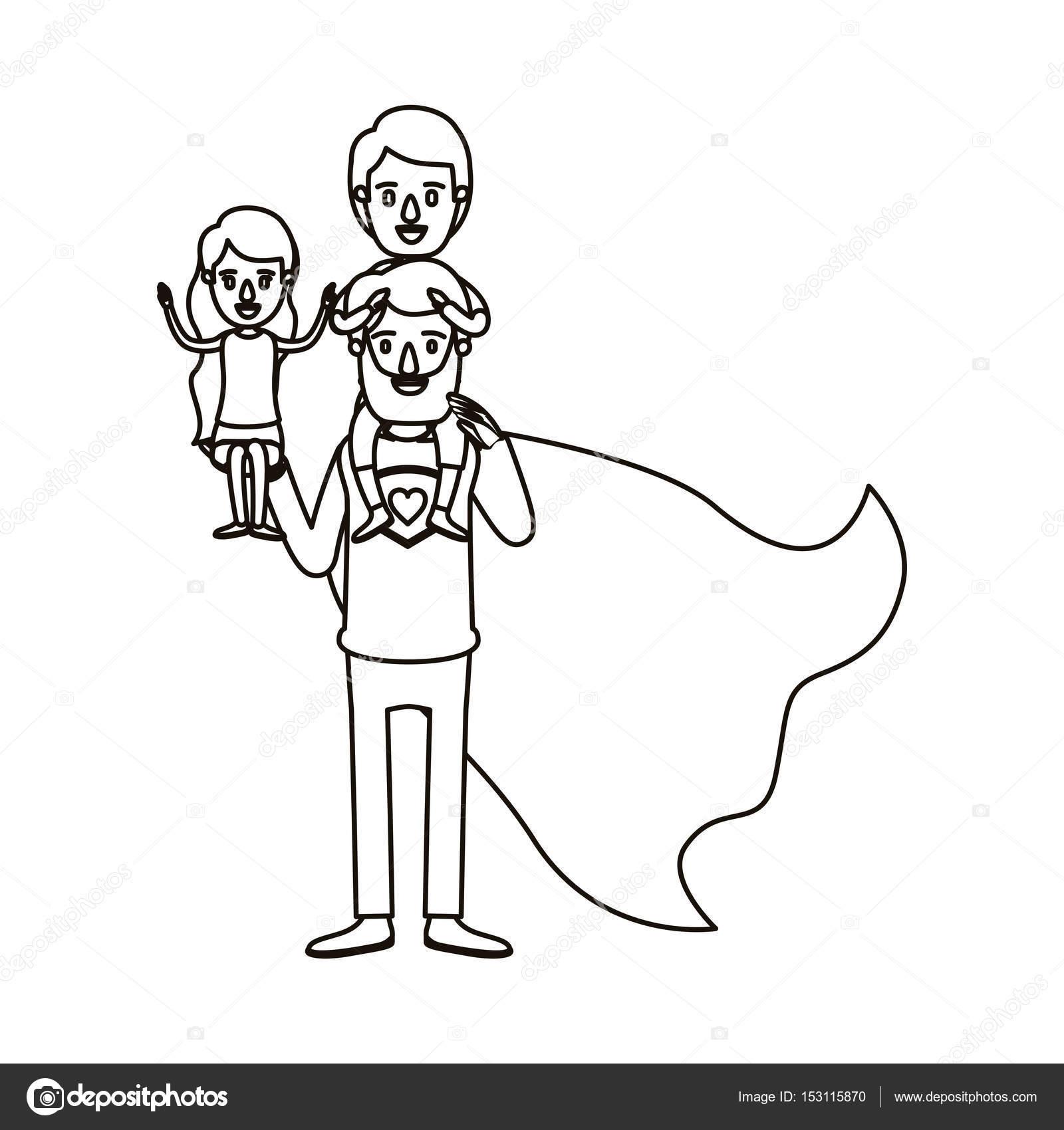 Imágenes Niños De Espalda Para Colorear Héroe De Super Papá