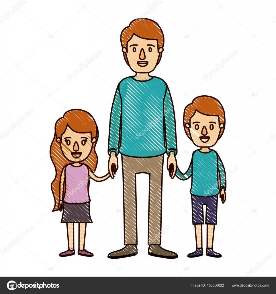 Renk Mum Boya şerit çizgi Film Tam Vücut Adam Kız Ve Erkek Ile El