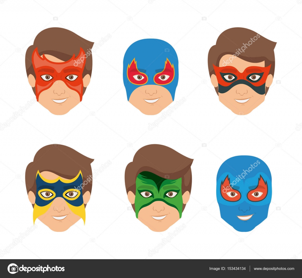 White Background Set Face Super Hero Men With Mask Stock Vector