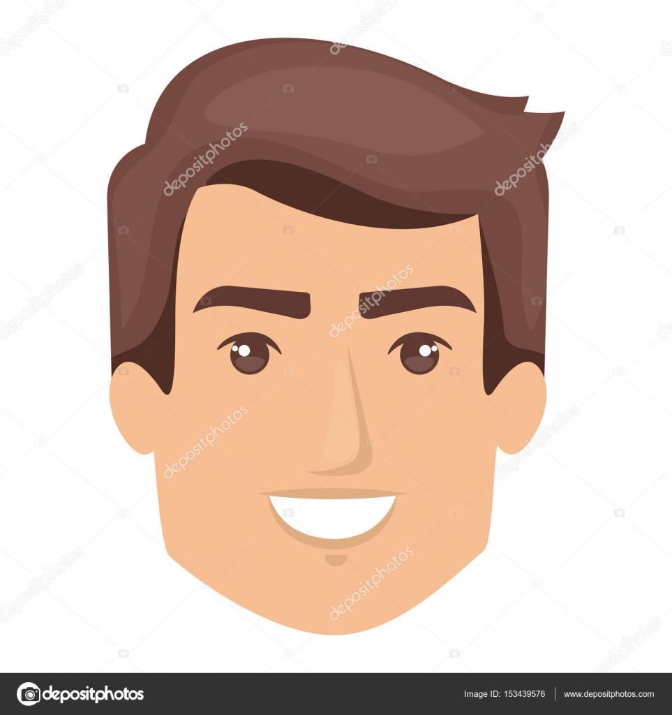 Fondo blanco de la sonriente cara de hombre con estilo de pelo corto —  Vector de 0d71754c592