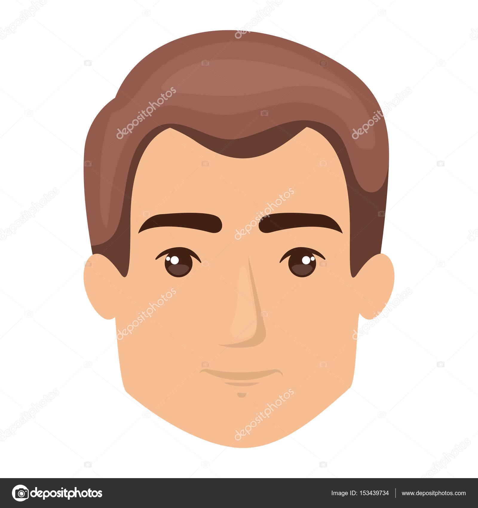 Fondo blanco de la cara de hombre con estilo de pelo corto castaño claro —  Archivo b99e9f51780