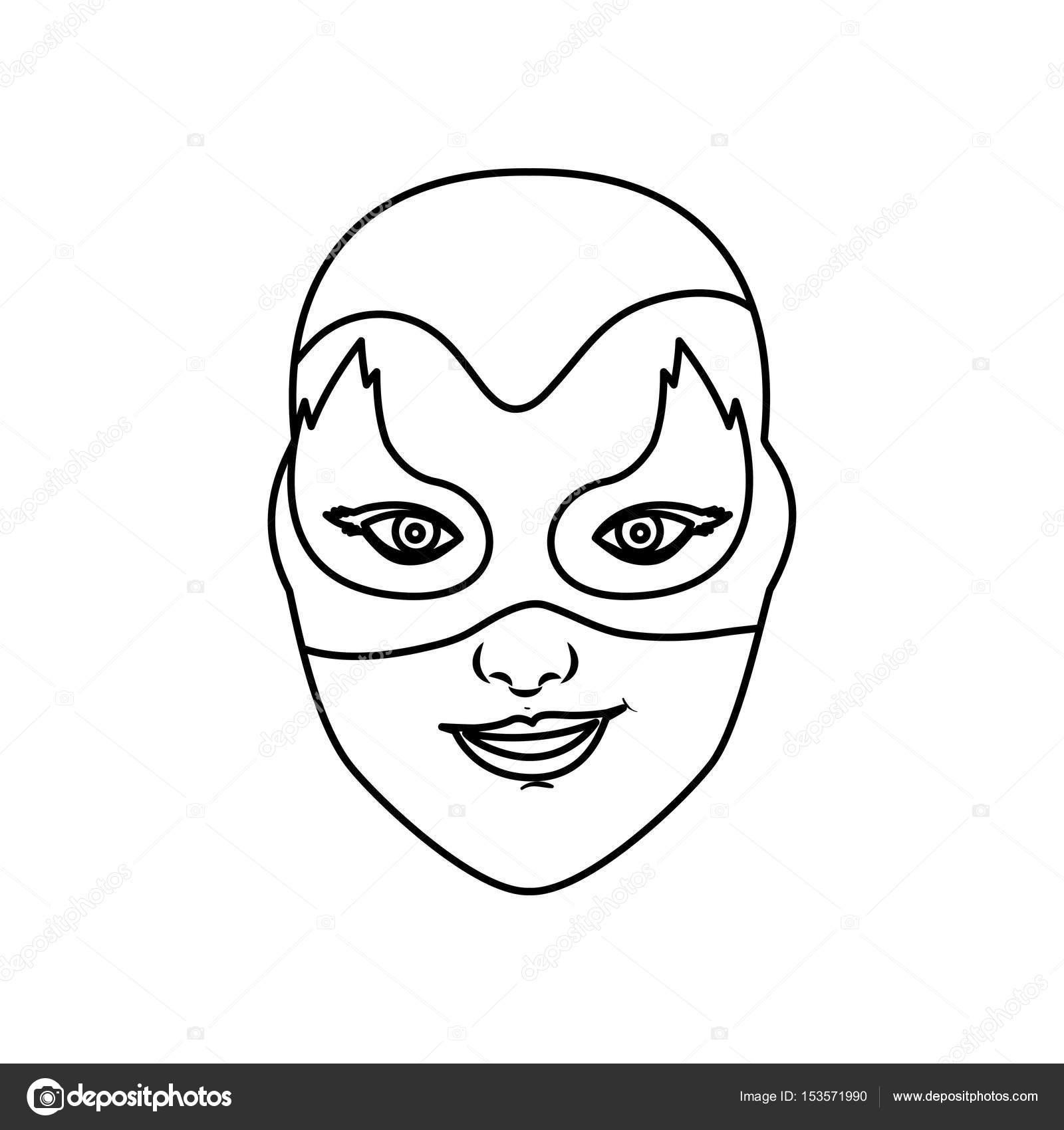 monochrome Kontur des weiblichen Superhelden mit Maske und Flamme ...