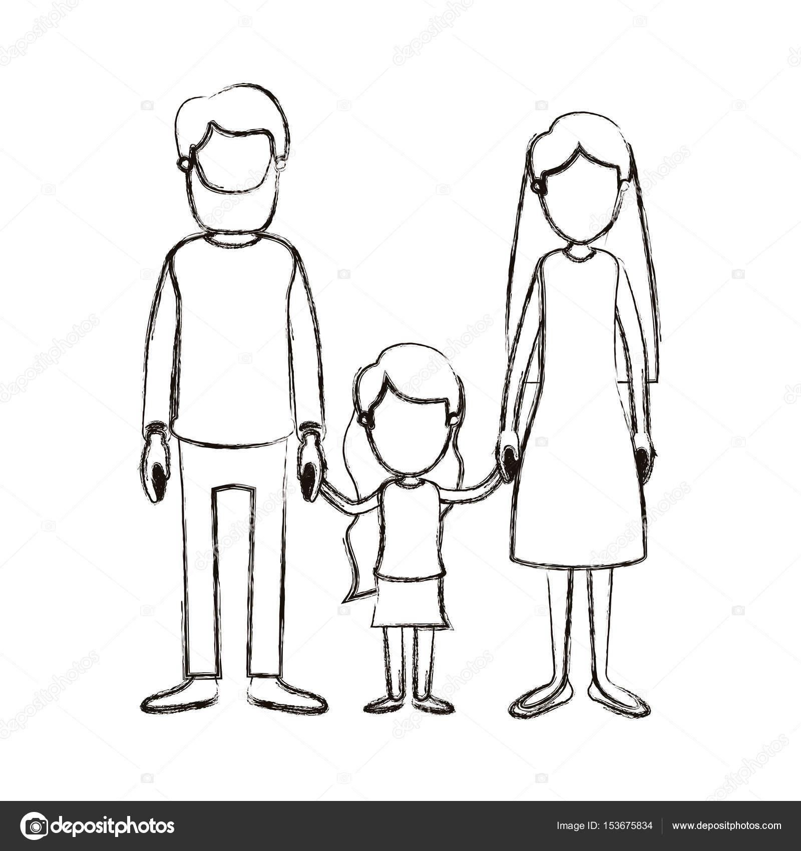 Silueta De Familia Para Colorear Borrosa De Familia Sin Rostro De
