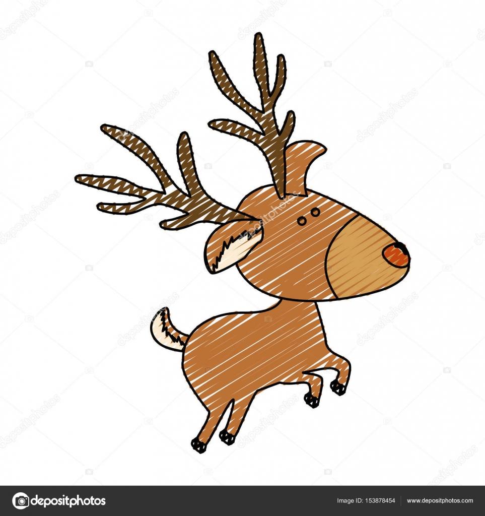 color Crayola raya dibujos animados del reno saltar — Archivo ...