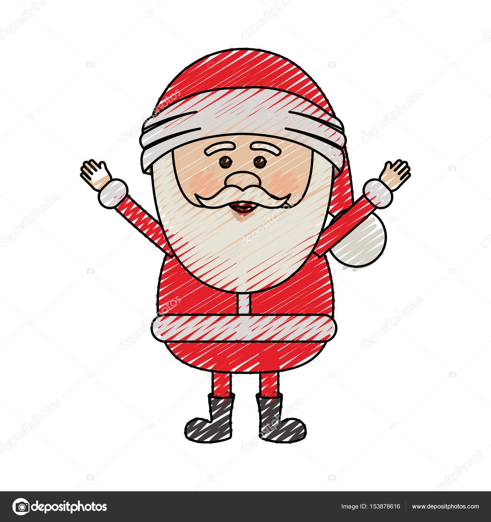 color crayon stripe cartoon of santa claus with open arms — Stock ...