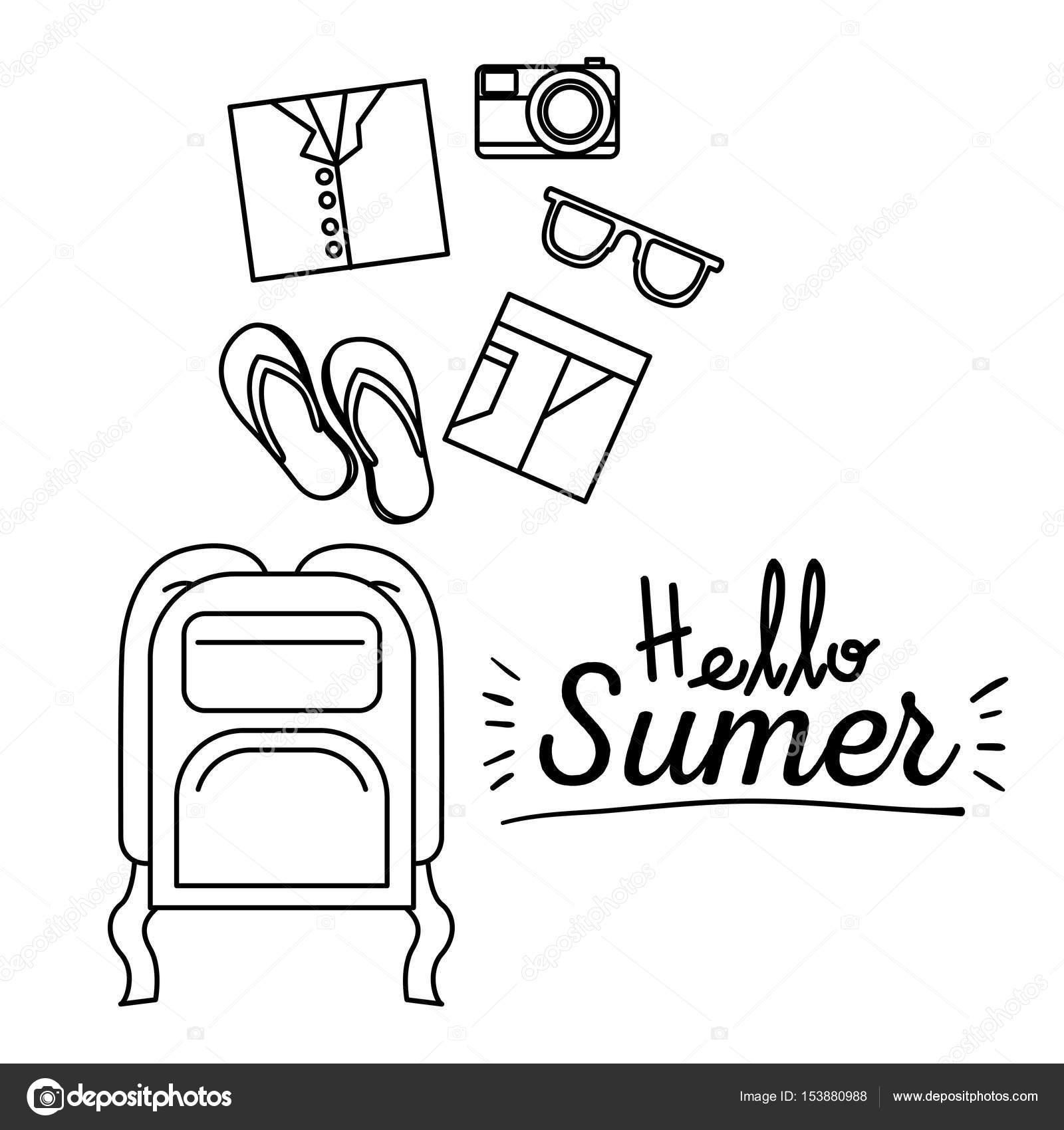 旅行者の荷物を持ってこんにちは夏のモノクロ ポスター — ストック