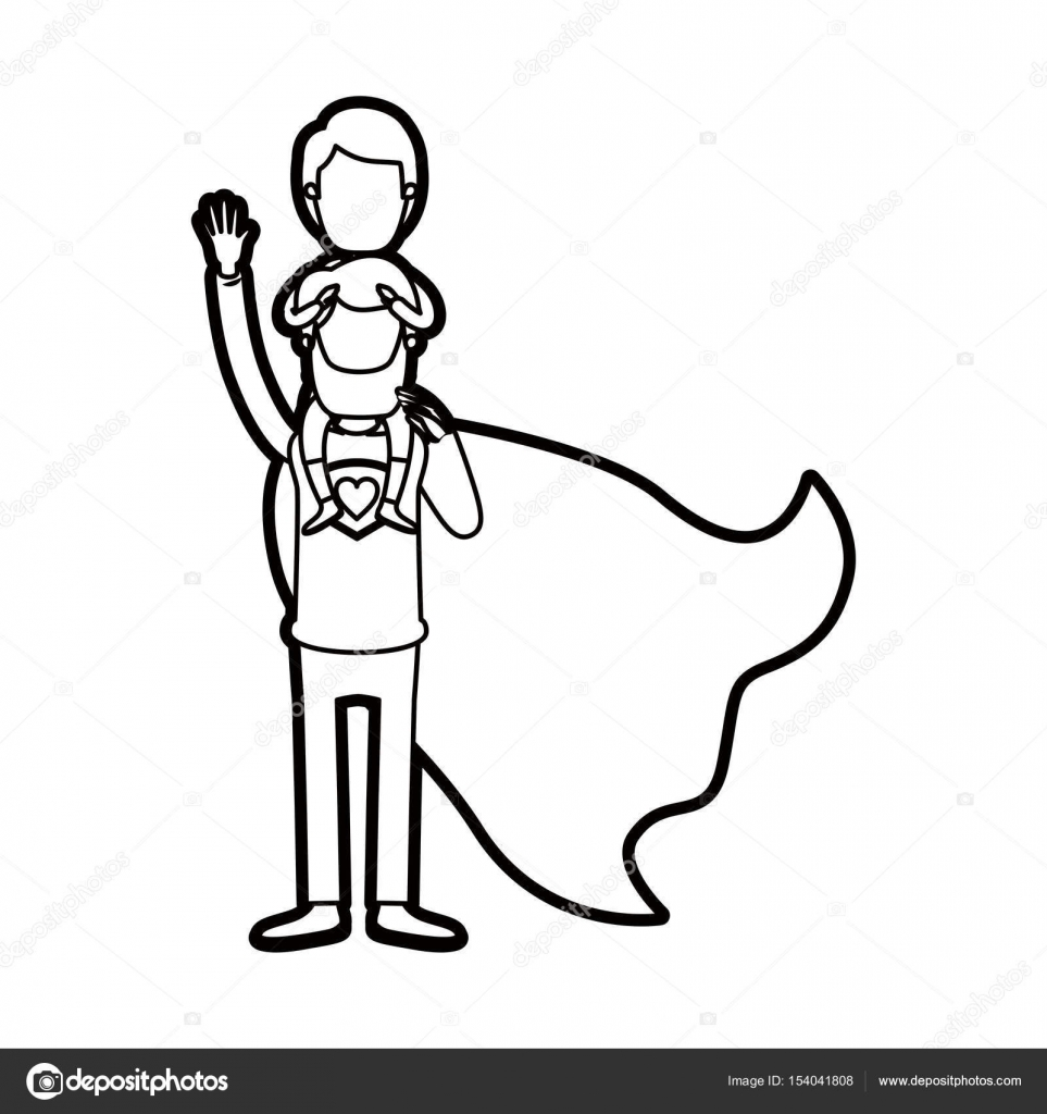 héroe de super papá grueso contorno corporal sin rostro de ...