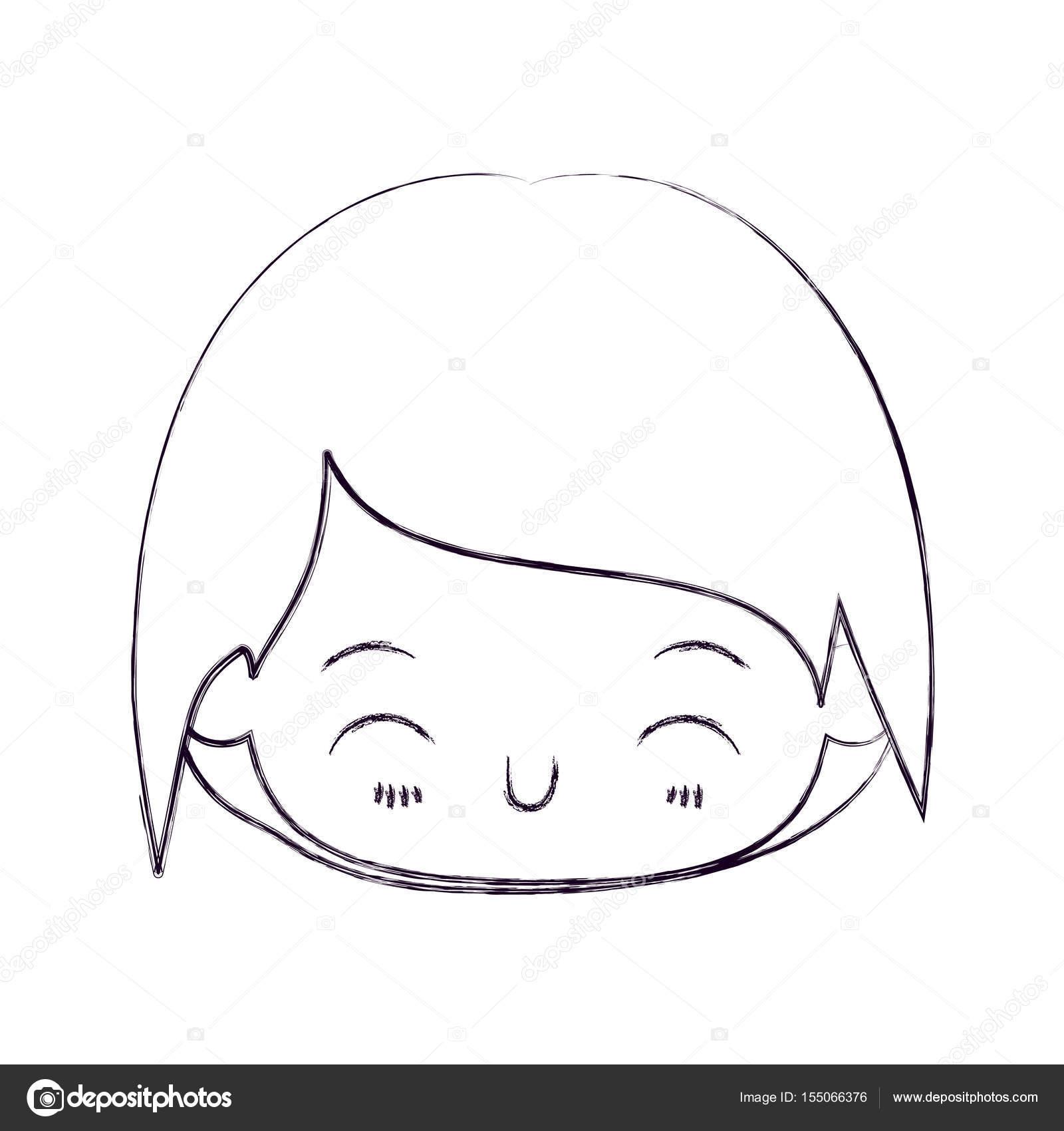 Mutluluk Yüz Ifadesi Ile Küçük çocuk Başkanı Kawaii Bulanık Ince