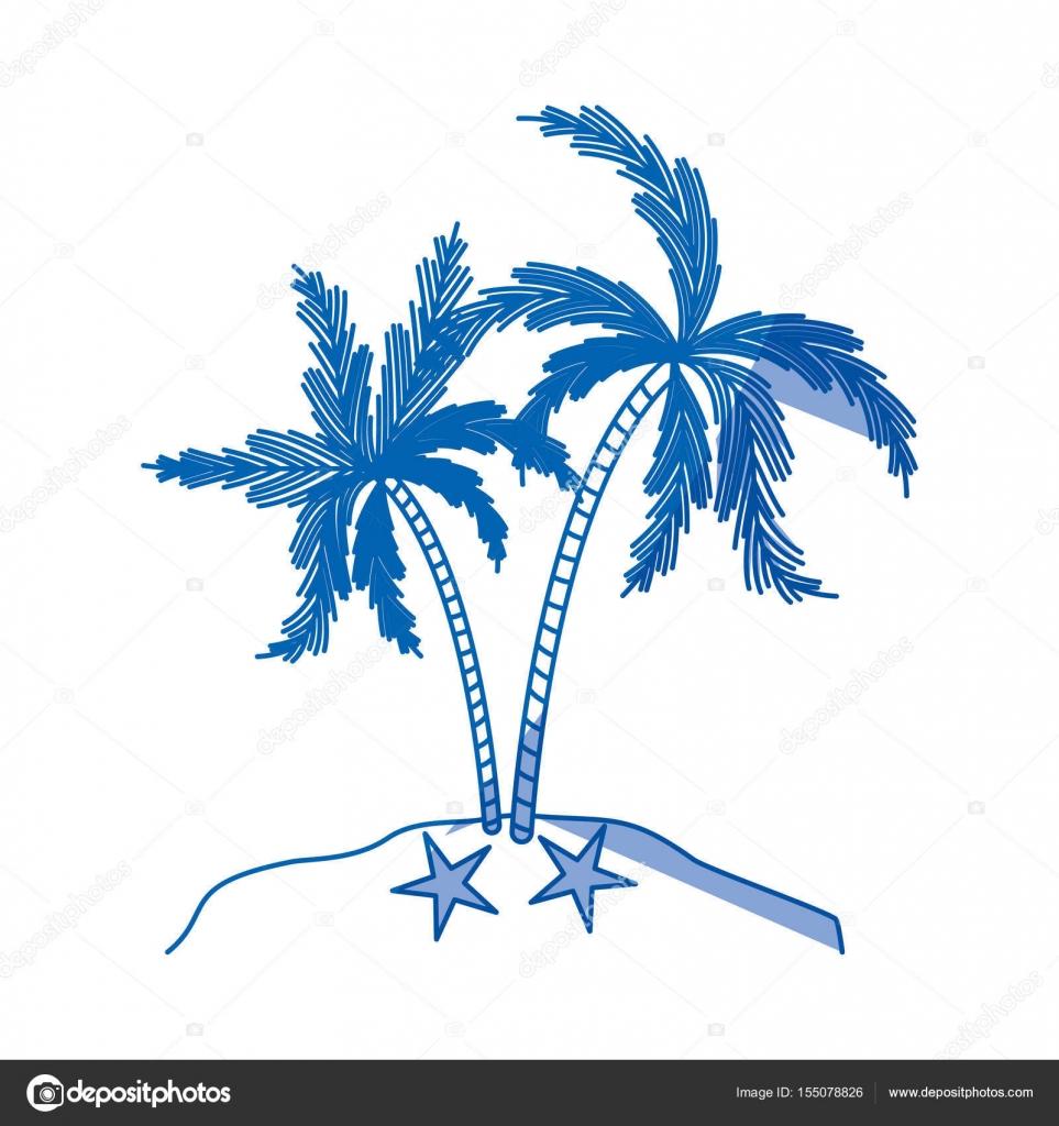 blaue Färbung Silhouette der Insel mit Palmen Baum — Stockvektor ...