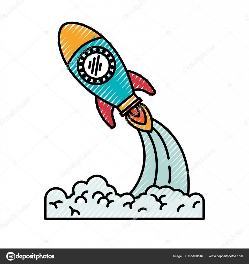 Uzay Roket Fırlatma Silüeti Renkli Pastel Boya Stok Vektör