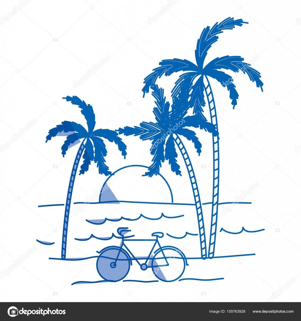 blaue Färbung Silhouette der Landschaft auf Meer und Sonnenuntergang ...