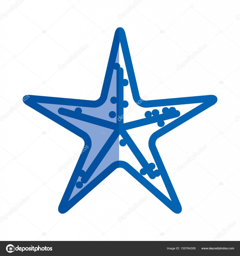 blaue Färbung Silhouette des Meer Seestern — Stockvektor ...