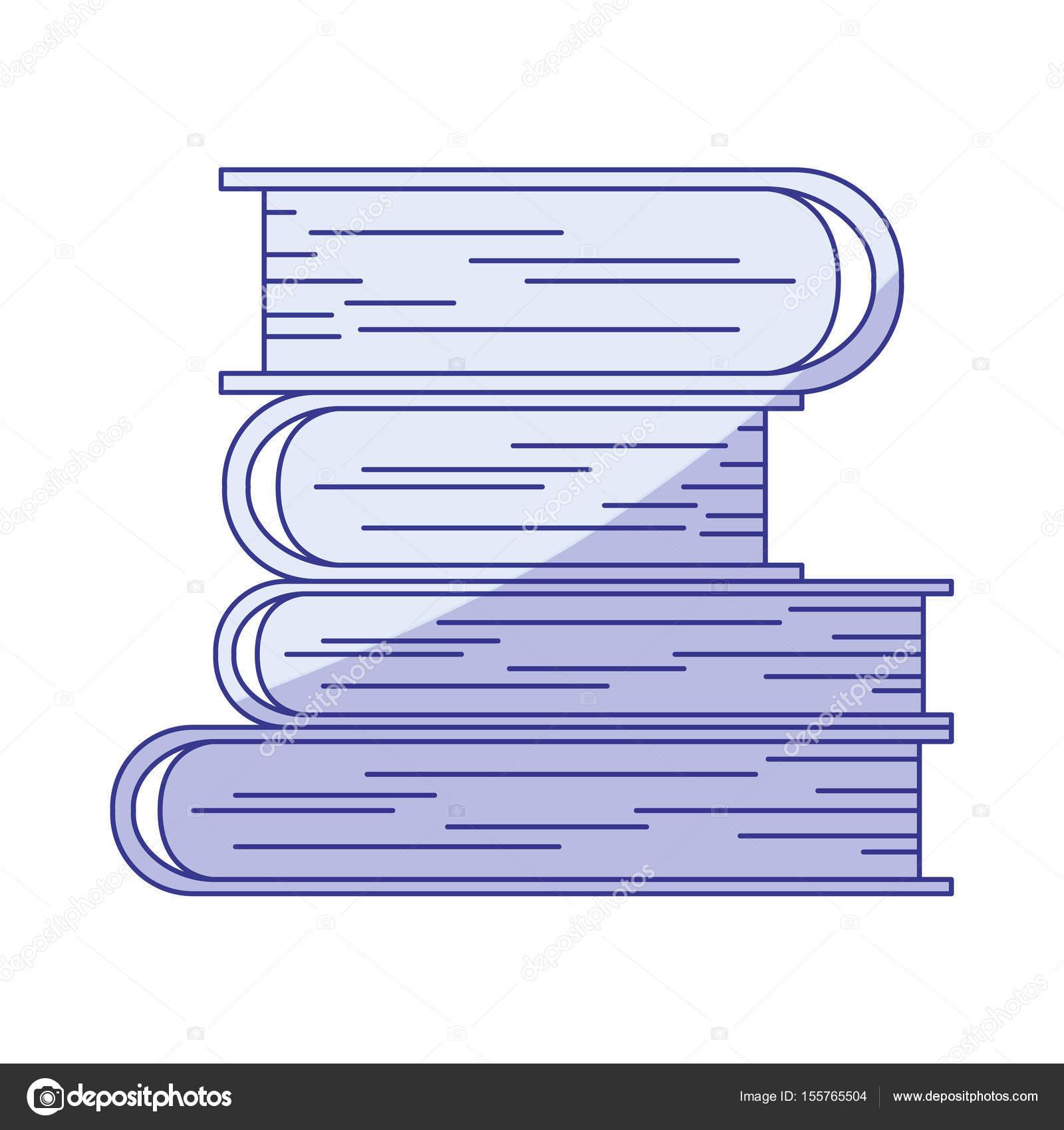 blaue Färbung Silhouette der Stapel Bücher — Stockvektor ...