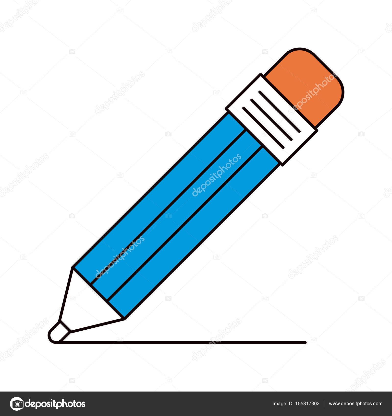 鉛筆消しゴムと描画線のシルエット カラー セクション ストック