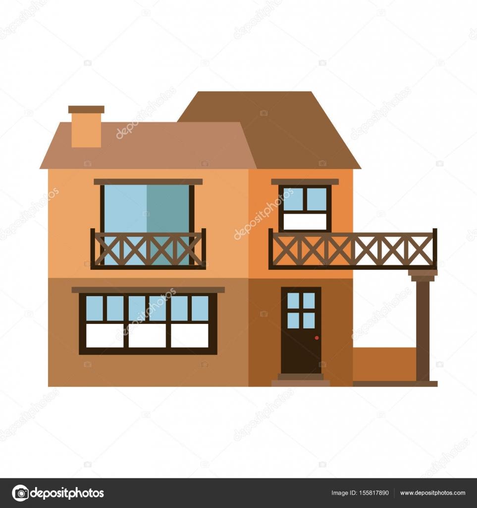 Lichtfarbe Silhouette Der Fassade Haus Mit Zwei Etagen Mit Balkon
