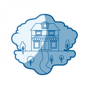 blue shading silhouette scene of natural landscape and house with two floors with attic and awning