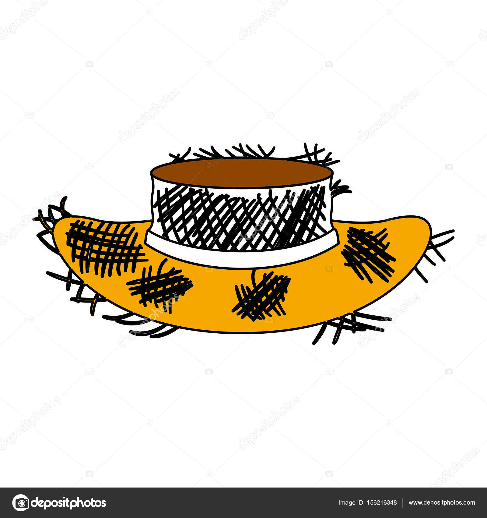 39991fd94ed58 Silhueta de seções cor de velho chapéu de palha com ilustração vetorial  contorno grosso — Vetor de ...
