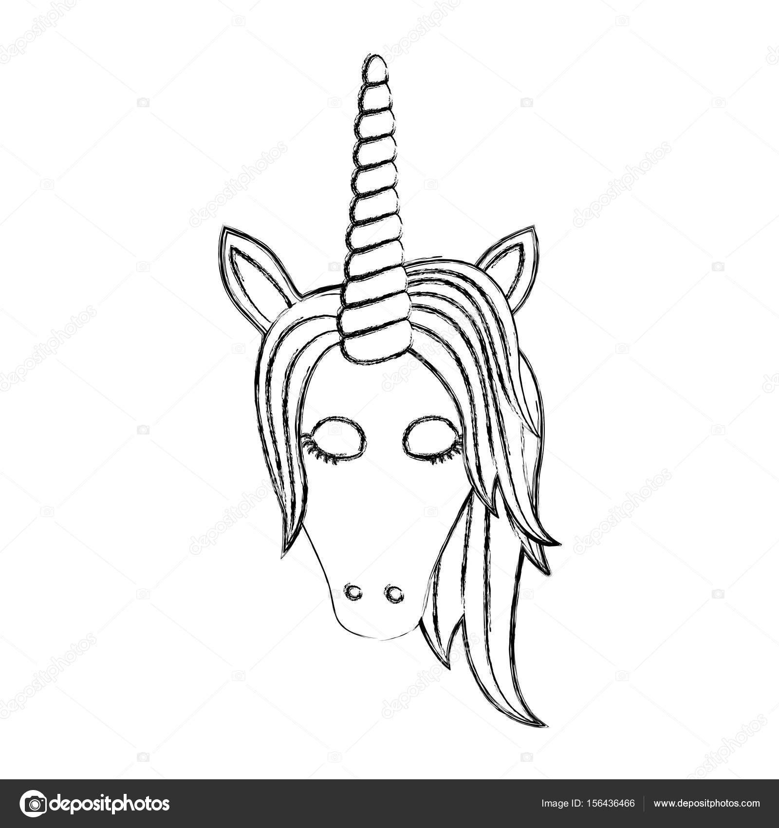Imágenes Ojos De Unicornio Para Colorear Monocromo Borrosa