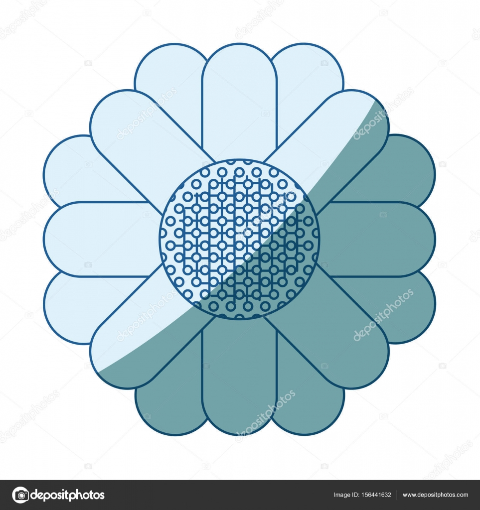 blaue Färbung Silhouette des abstrakten Sonnenblume in Nahaufnahme ...