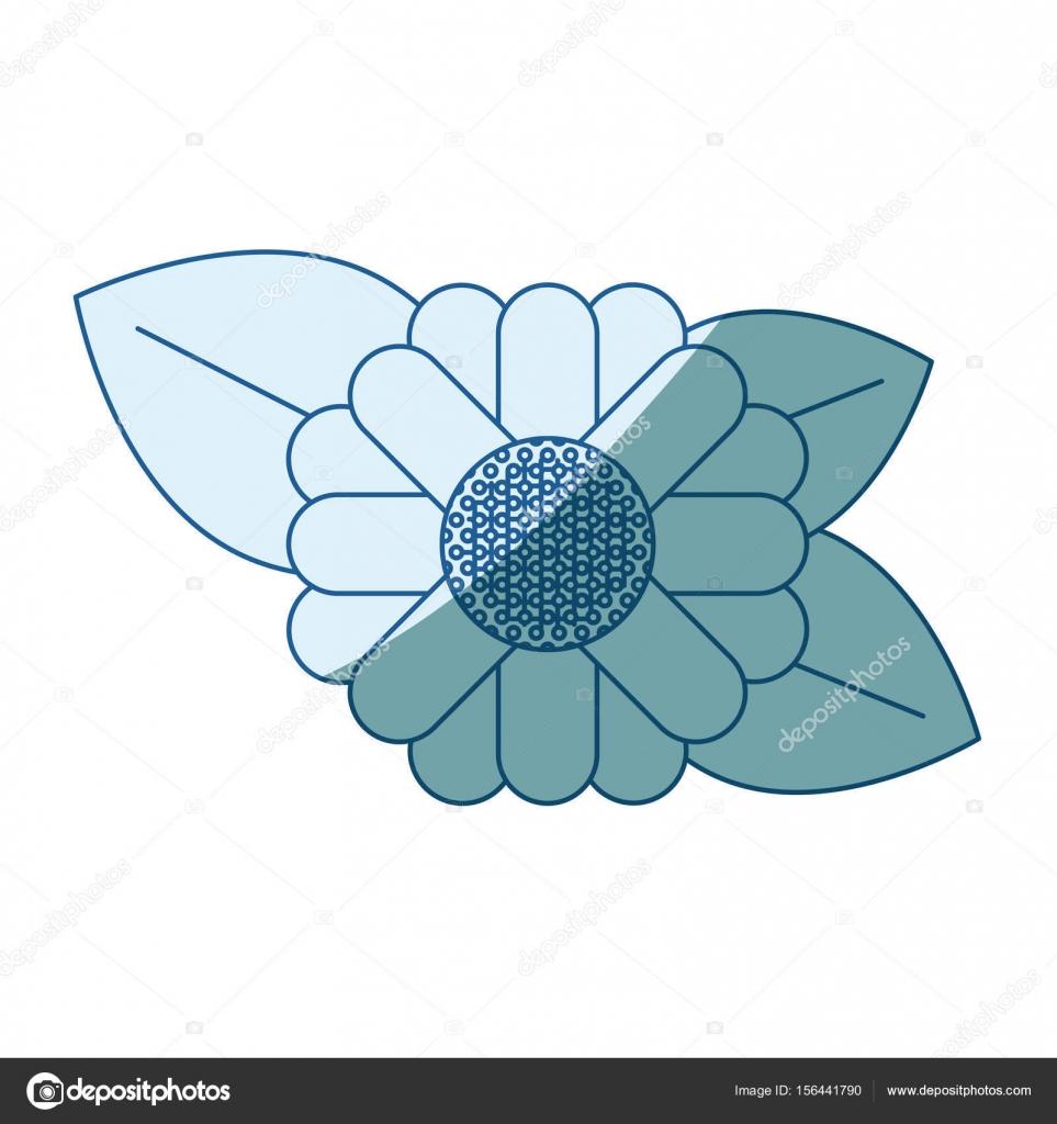 blaue Färbung Silhouette des abstrakten Sonnenblume mit Blätter in ...