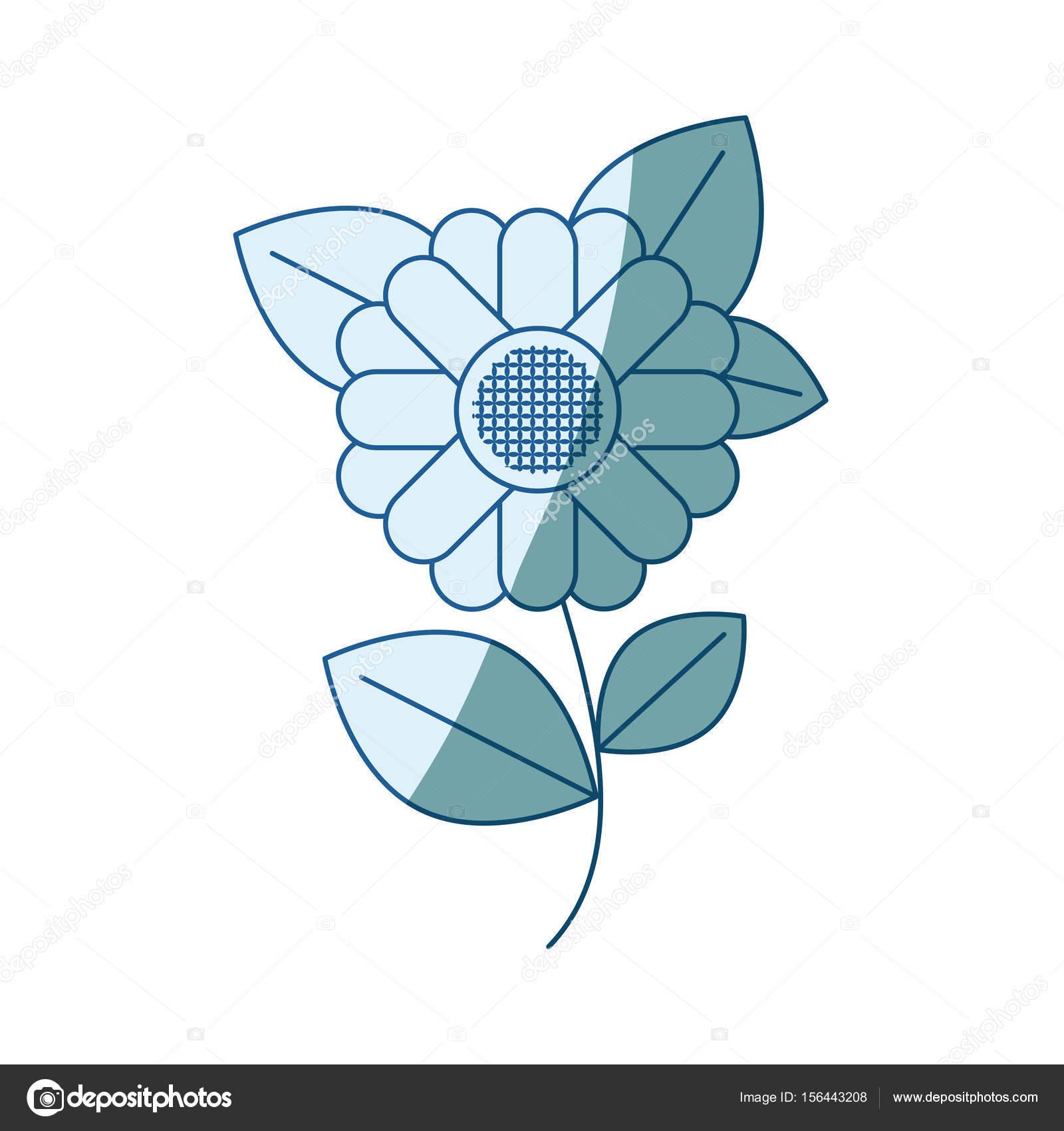 blaue Färbung Silhouette des abstrakten Sonnenblume mit Stammzellen ...