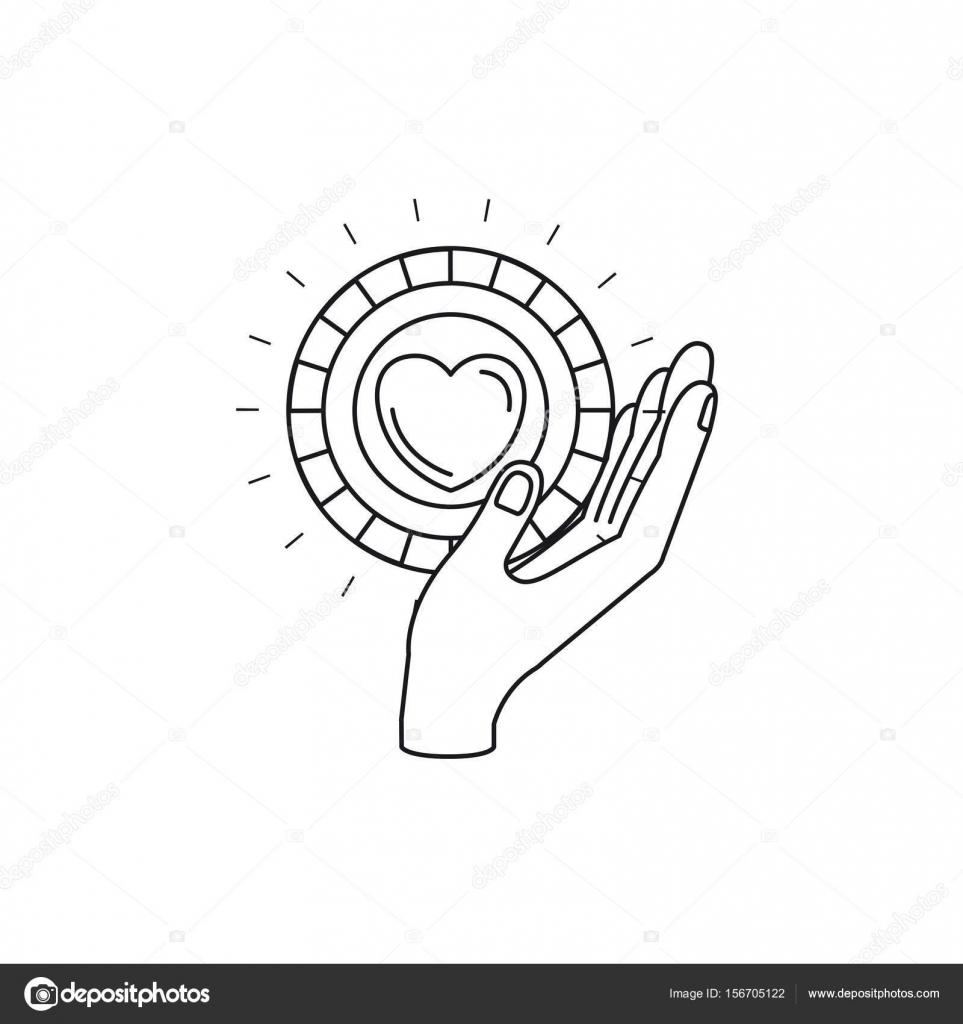 Silhouette Seitenansicht Von Hand Eine Munze Mit Herzform In