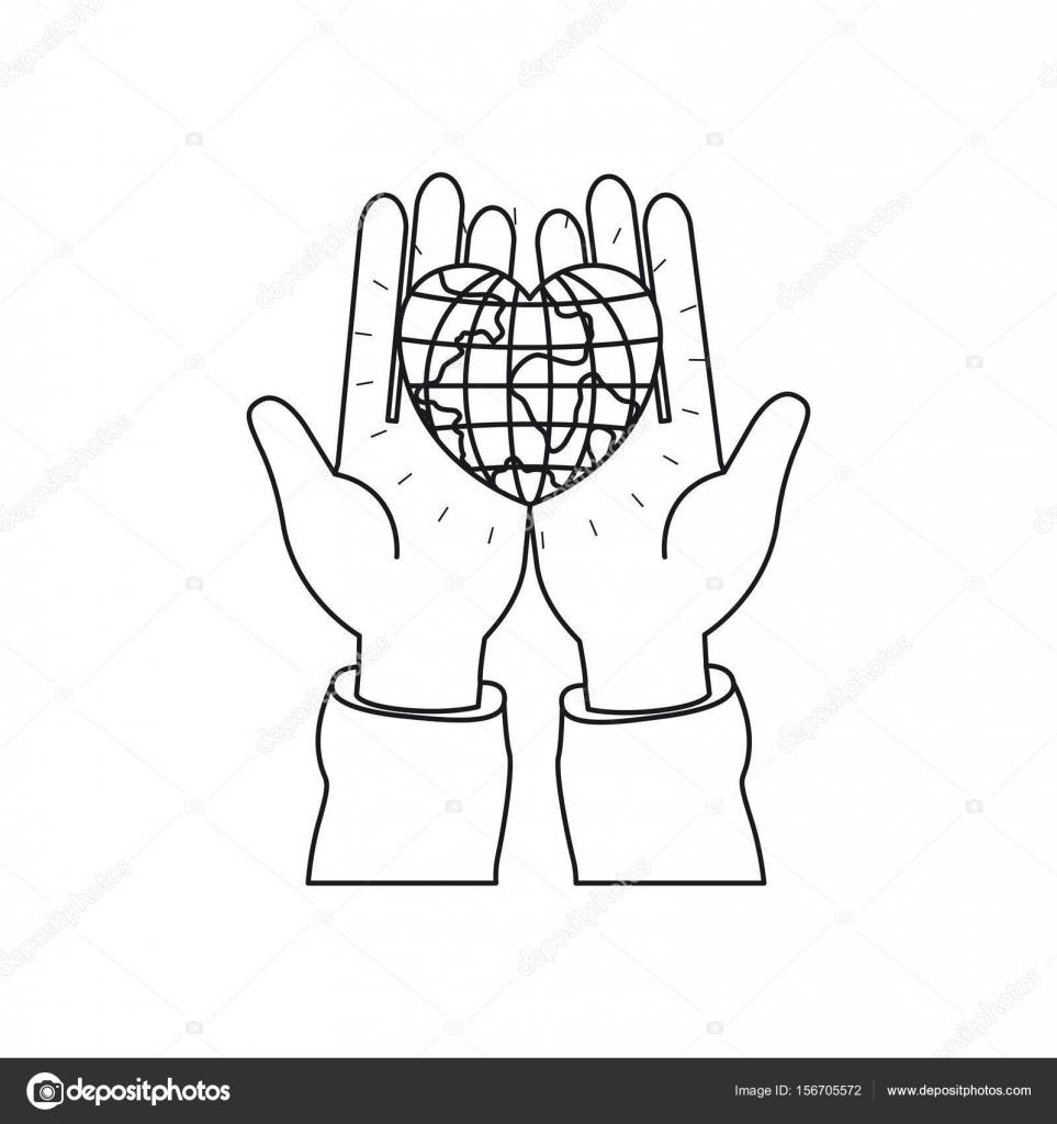 Avuç Içi Bir Dünya Kalp şeklinde Holding Eller Siluet önden Görünümü