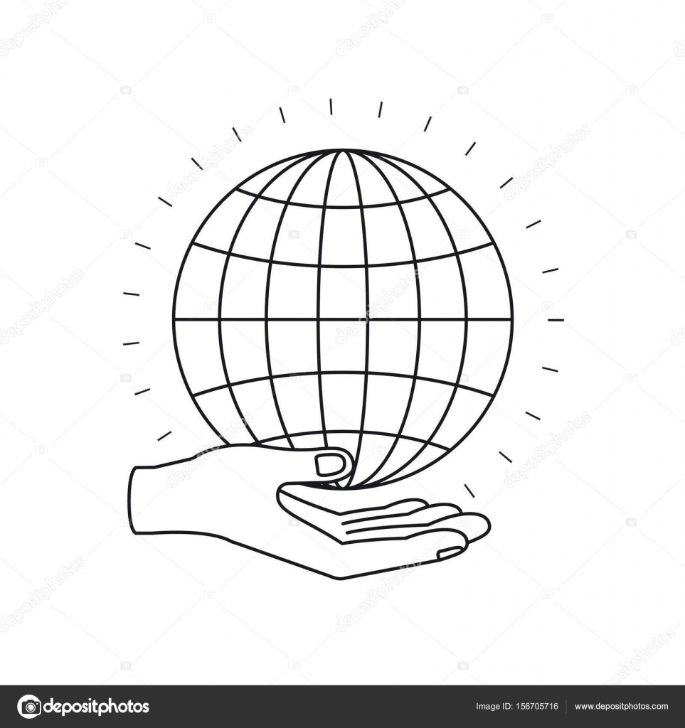 Silhouette Hand Palm Giving A Globe Chart Charity Symbol Stock